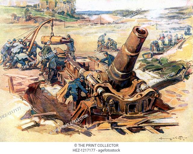 '370 Mortar in Action', 1918, (1926). French artillerymen operating a large mortar. Mortars are muzzle-loaded weapons that fire shells at a lower velocity and...