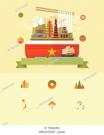 Landmarks in Vietnam with icons and Infographic