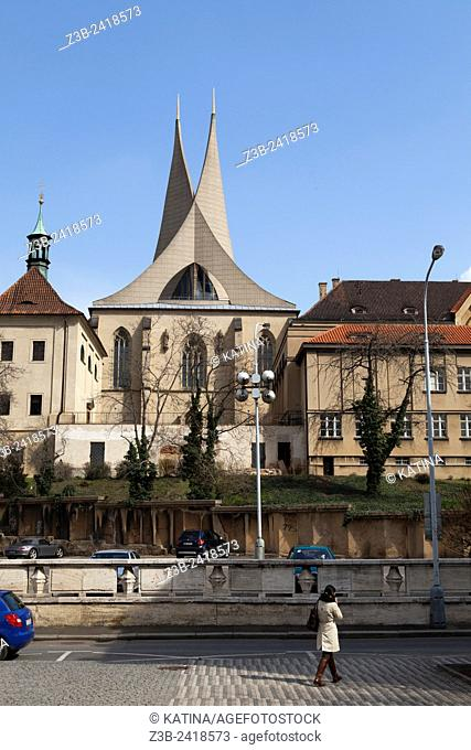 Established in 1347 with a modern roof and steeples added in the 1960's, the Emmaus Monastery, Prague, Czech Republic, Europe