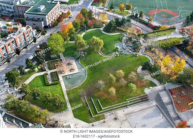 Canada, BC, Vancouver.  Overhead view of Andy Livingstone Park.  Surrounded by the city's Downtown East