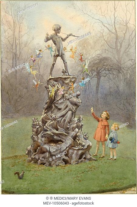 'Peter's Friends' - two children looking at circle of fairies flying round statue of Peter Pan