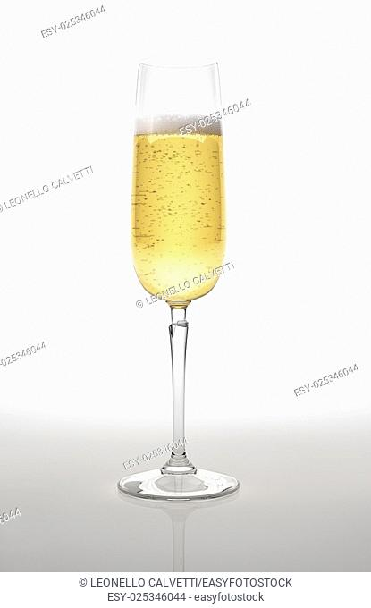 Champagne glass on white surface and background. With clipping path