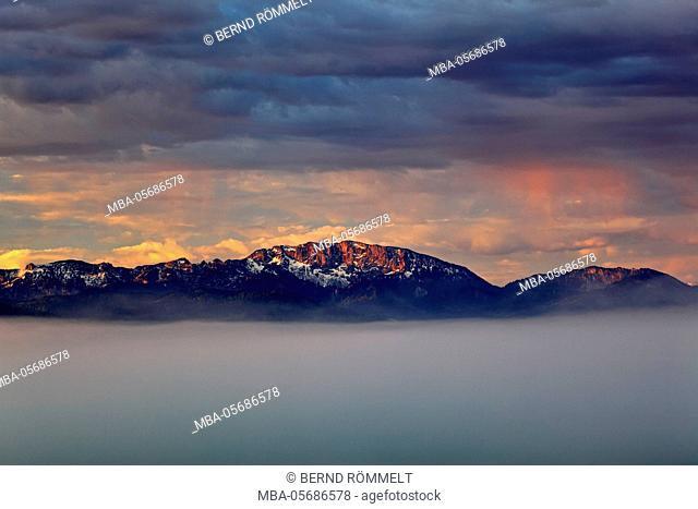 Germany, Bavaria, Upper Bavaria, Tölzer country, Faistenberg, view at Benediktenwand, Bavarian Alpine foothills