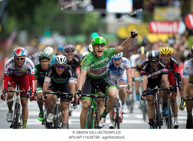 2015 Tour De France Stage 5 Arras to Amiens July 8th. 08.07.2015 Amiens, France. Andre Greipel celebrates winning stage 5 of the 2015 Tour De France Arras to...