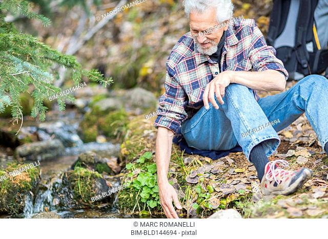 Caucasian hiker dipping fingers in forest creek