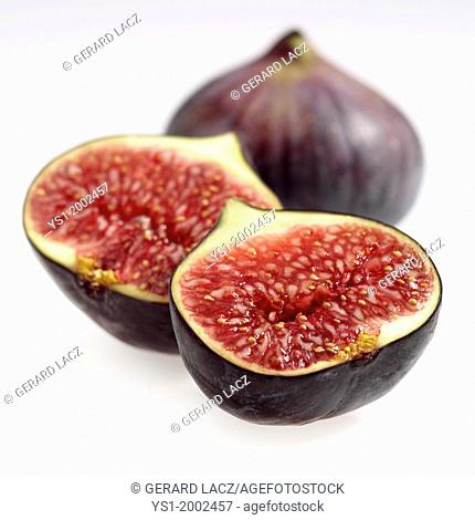 Fresh Figs, ficus carica against White Background
