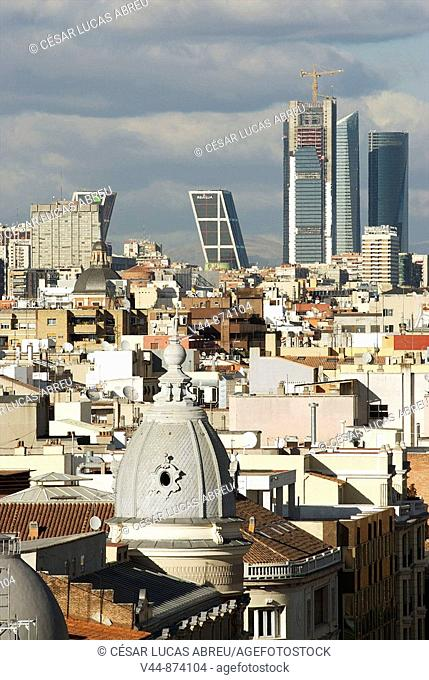 AZCA financial district buildings seen from Calle de Alcala, Madrid, Spain