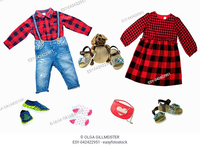 Collage set of children clothes. Collection of spring and autumn clothes isolated on a white background. Close up