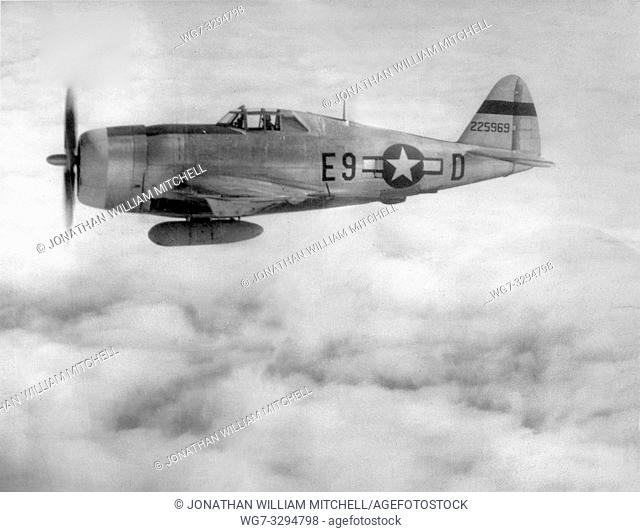 EUROPE -- 1940s -- Republic P-47,Thunderbolt flew its first combat mission - a sweep over Western Europe. Used as both a high-altitude escort fighter and a...