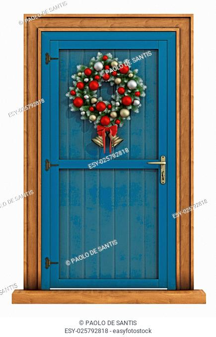 Christmas front door with wreath isolated on white - 3D Rendering