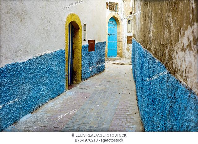 typical alley Essaouira, morocco, africa