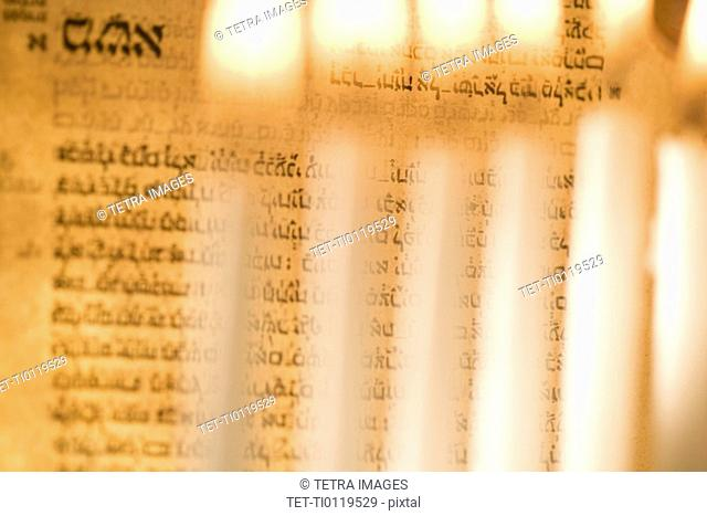 Lighting a menorah