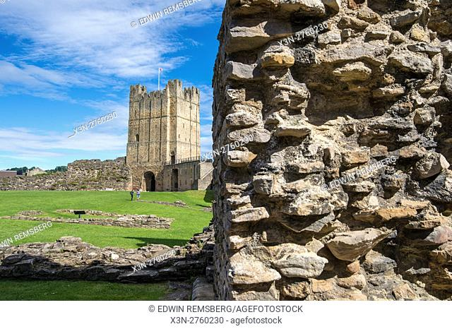 UK, England, Yorkshire, Richmond - The Richmond Castle, one of North Yorkshire's most popular tourist attractions located in the city of Richmond