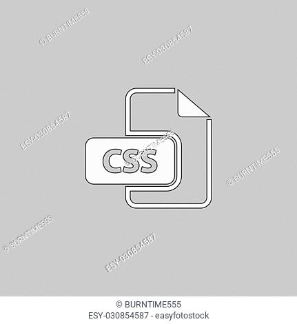 CSS Simple line vector button. Thin line illustration icon. White outline symbol on grey background