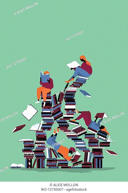 Children enjoying reading on chaotic pile of books
