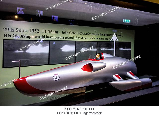 Scale model of John Cobb's jet speedboat Crusader in the Loch Ness Centre and Exhibition Experience at Drumnadrochit, Scotland, UK
