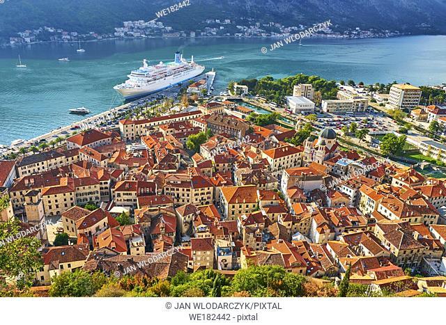 Aerial view of Kotor Old Town, Bay of Kotor, Montenegro