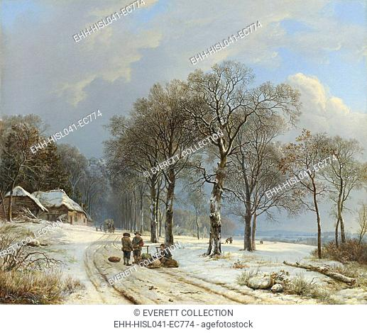 Winter Landscape, by Barend Cornelis Koekkoek, 1835-38, oil on canvas. Scene in Gelderland Province, bordering Germany on the Lower Rhine