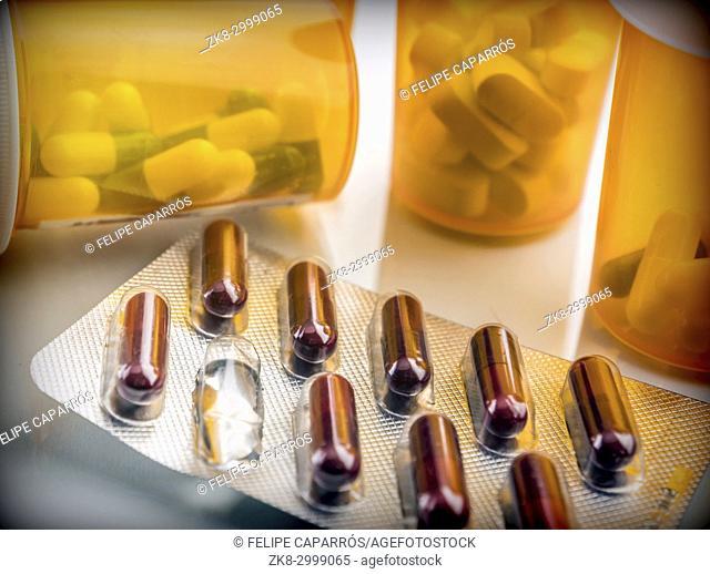Boats of medicine amber transparent, conceptual image