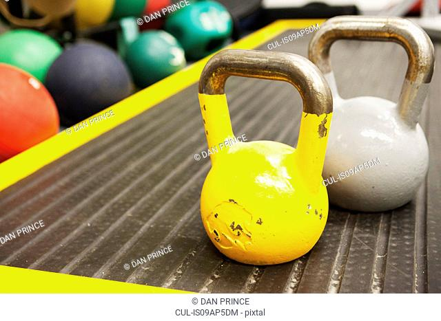 Kettle bell weights, close-up