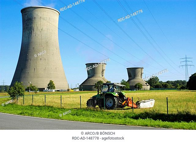 Power Station of RWE Hamm-Uentrop North-Rhine Westphalia Germany cooling tower tractor