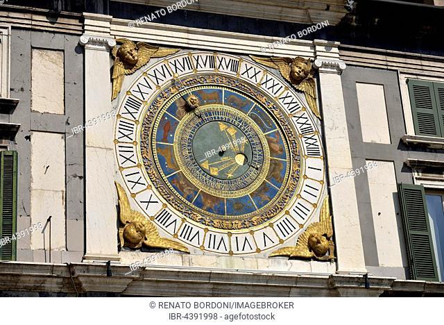 Historical astronomical clock, 16th century, Piazza della Loggia, Province of Brescia, Lombardy, Italy