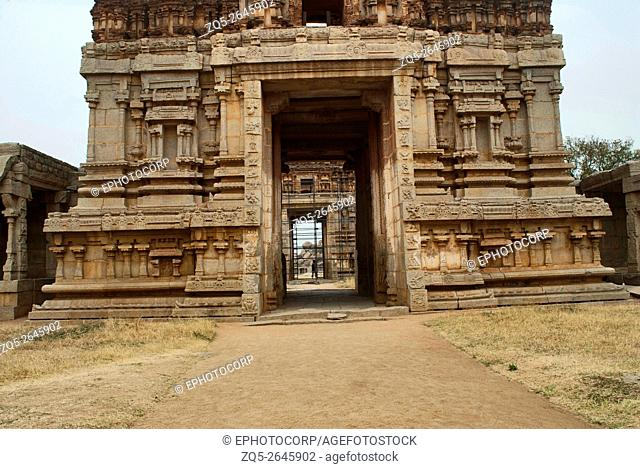 The North Gopura of the inner courtyard, an entrance to the Achyuta Raya temple, Hampi, Karnataka, India. Sacred Center. View from the south