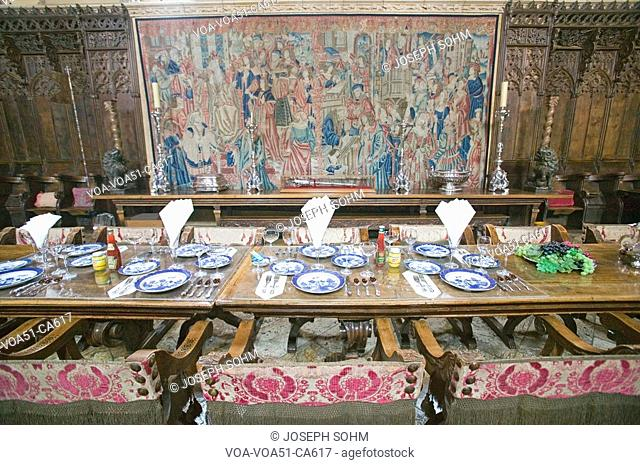Dining Room and table settings at Hearst Castle, America's Castle, San Simeon, California