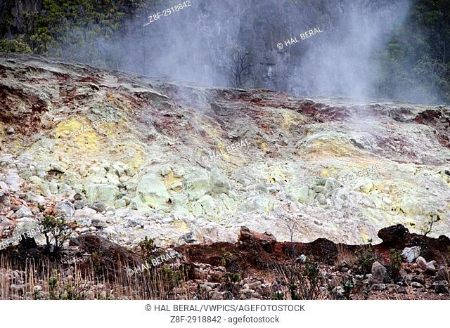 Volcanic depoosit of minerals including sulphur at volcanic steam vents Hawaii Volcanoes National Park, Big Island, Hawaii