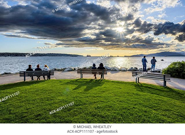 People enjoying the Sunset, English Bay, Vancouver, British Columbia, Canada