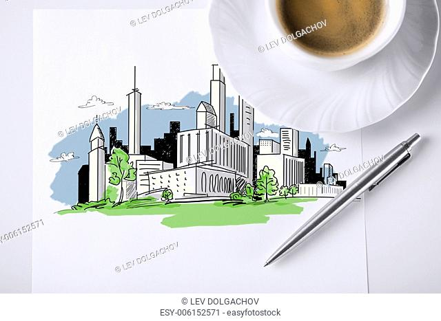 business and architecture concept - paper for note with city sketch and coffee