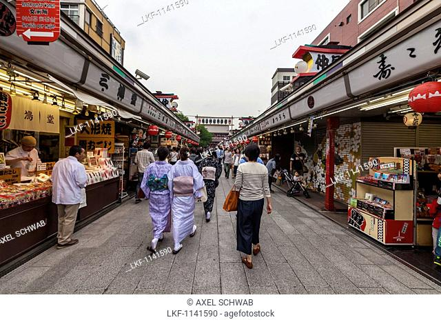 Young Japanese women wearing kimono walking at Nakamise Street in front of temple Senso-ji in Asakusa, Taito-ku, Tokyo, Japan