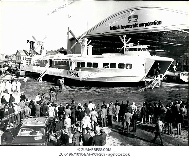 Oct. 10, 1967 - The worlds largest hovercraft Sr N4 makes its public bow at cowes. The 165-ton Sr. N4 which is far and away the worlds largest hovercraft was...