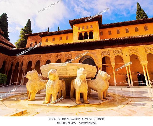 Patio de los Leones in Palacios Nazaries of Alhambra in Granada, Andalusia, Spain