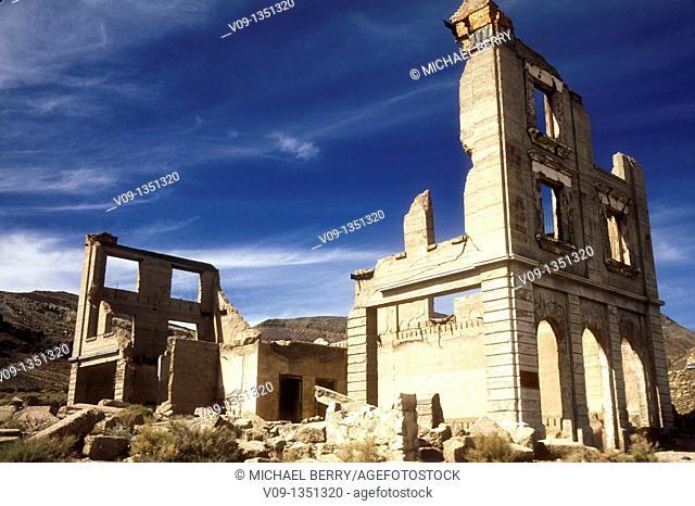 Bank ruins, Rhyolite, Nevada, USA