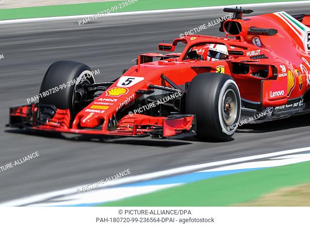 20 July 2018, Germany, Hockenheim, Motor sports, Formula 1 World Championship, Grand Prix Germany: German driver Sebastian Vettel from Team Scuderia Ferrari...