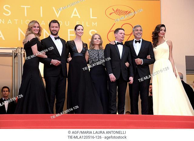 12/05/2016 69 Festival di Cannes. Red carpet del film Money Monster. Nella foto Caitriona Balfe, Jack O'connell, Dominic West, la regista Jodie Foster