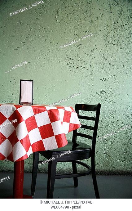 Table in Italian restaurant