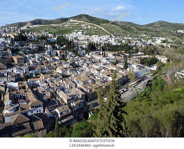 El Albaicín from Alhambra de Granada, Spain