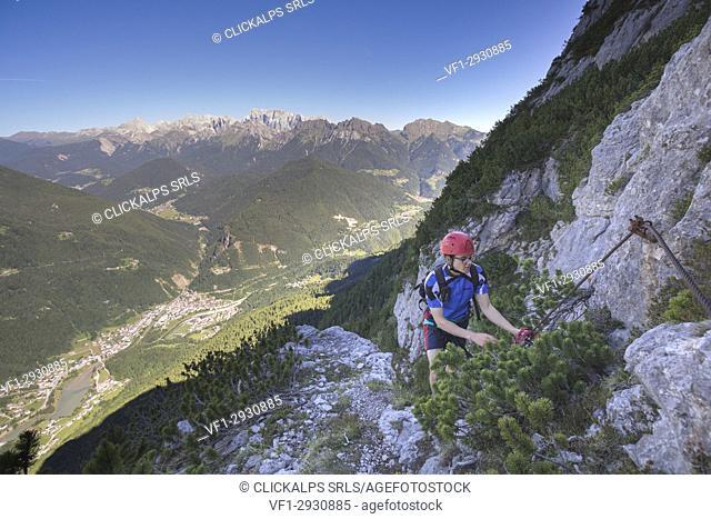 Europe, Italy, Veneto, Agordo, mountain climber on the via ferrata Fiamme Gialle at Palazza Alta of Pelsa, Civetta group, Dolomites