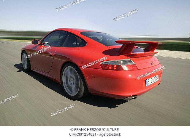 Car, Porsche GT3, roadster, model year 2003-, red, coupe, driving, test track, race track, diagonal from the back, rear view, Spoiler