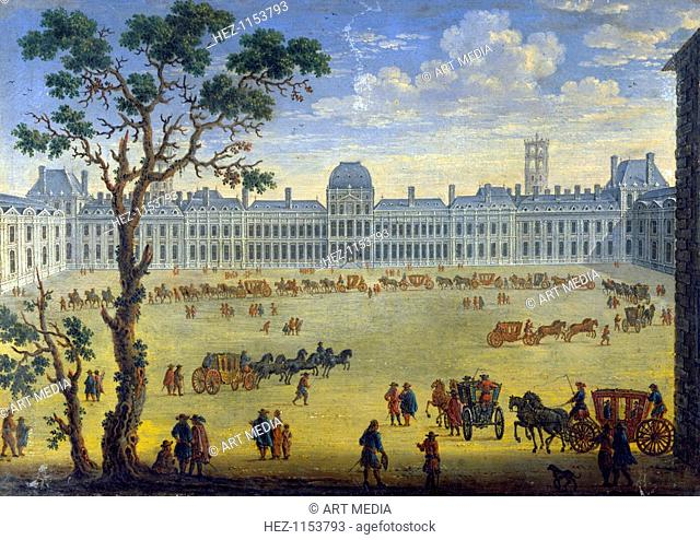 'Imaginary View of the Tuileries', 17th century. A procession of coaches is forming up. From the Musee du Louvre, Paris