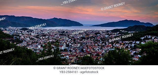 Panoramic View of the Town of Marmaris, Mugla Province, Turkey