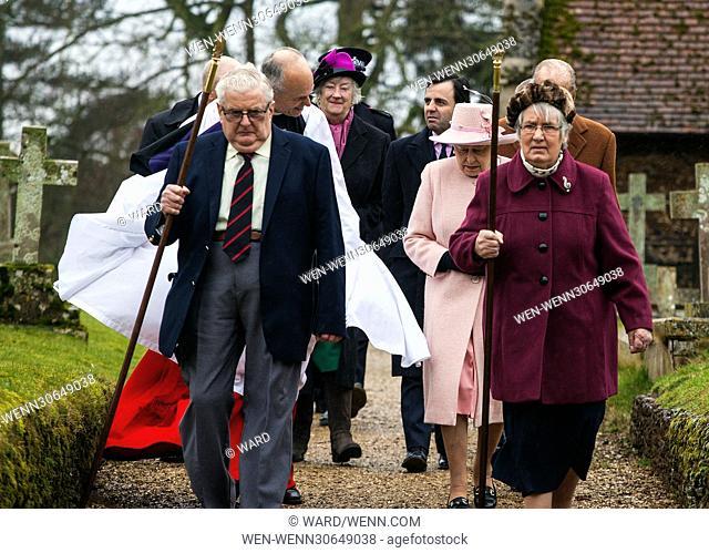 Queen Elizabeth II visits West Newton church on the Sandringham Estate, Norfolk, UK Featuring: Queen Elizabeth II, Prince Phillip Where: Kings Lynn