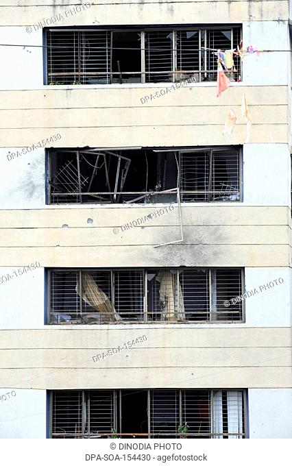 Damaged Nariman House ; after terrorist attack by Deccan Mujahideen on 26th November 2008 in Bombay Mumbai ; Maharashtra ; India