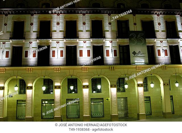 buildings at night in the city of Huesca (Spain)