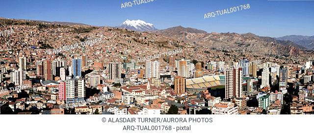 The city of La Paz Bolivia with Illimani in the background