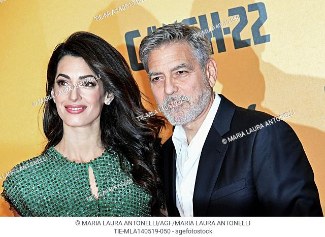 George Clooney with wife Amal Alamuddin during the Red carpet for the Premiere of film tv Catch-22, Rome, ITALY-13-05-2019