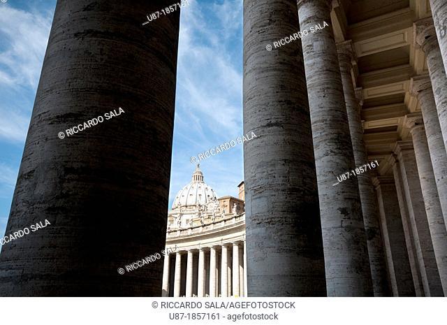 Italy, Rome, Vatican City, Saint Peter's Square, Bernini's Colonnade background Saint Peter Basilica