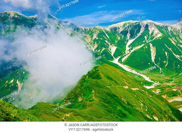 Mountain view of Tateyama in Toyama, Japan. Toyama is one of the important cities in Japan for cultures and business markets